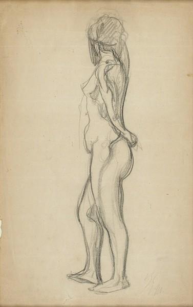 Серов Валентин Александрович (1865—1911) «Обнаженная». 1910. Бумага, итальянский карандаш, 33,5 х 20,8 см (в свету).