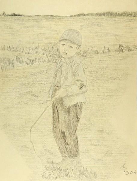 Котягин Александр Фёдорович (1882-1943) «Мальчик». 1904. Бумага, графитный карандаш, 31,8 х 24 см.
