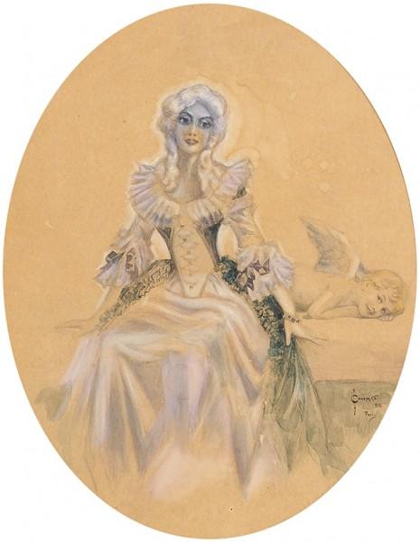 Соломко Сергей Сергеевич (1867 — 1928) «Голубое очарование». 1912. Бумага, графитный карандаш, акварель, белила, 25 х 19 см (в свету).