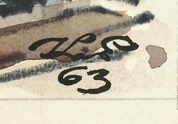 Елисеев Константин Степанович (1890—1968) «Хорошо, если бы и жильцы на зиму улетали. Вот хлопот бы поубавилось!». Иллюстрация для журнала «Крокодил». 1963. Бумага, угольный карандаш, тушь, перо, акварель, белила, фломастер, 52,3 х 33 см.
