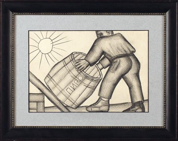 Чубаров Евгений Иосифович (1934 — 2012) «Пиво». 1960-е. Бумага, графитный карандаш, 13,5 х 19,7 см.