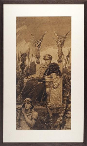 Котарбинский Василий (Вильгельм) Александрович (1849 — 1921) «Триумфатор». 1900-е. Бумага на картоне, сепия, кисть, 65 х 31,5 см (в свету).