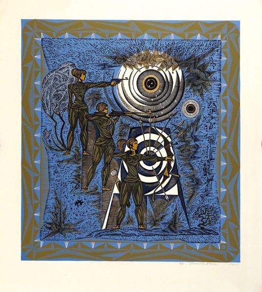 Стопа Генрих Тадеушевич (1936—2015) «Стрелки». Лист из серии «Спортивные ритмы». Авторский оттиск. 1978. Бумага, цветная линогравюра, 67 х 60 см (лист), 54,5 х 49 см (оттиск).