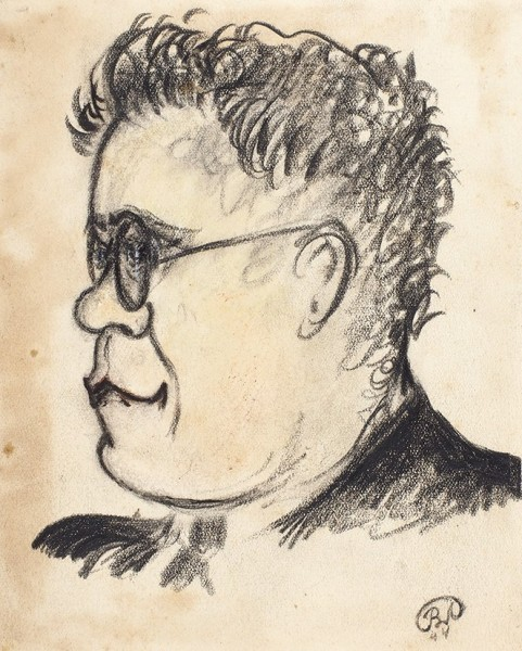 Два портрета С. Маршака, с автографами художника и Самуила Яковлевича. Дат. 1944 (?). Бумага, уголь, карандаш, тушь (?).