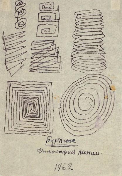 Рисунок Давида Бурлюка «Философия линии». 1962.