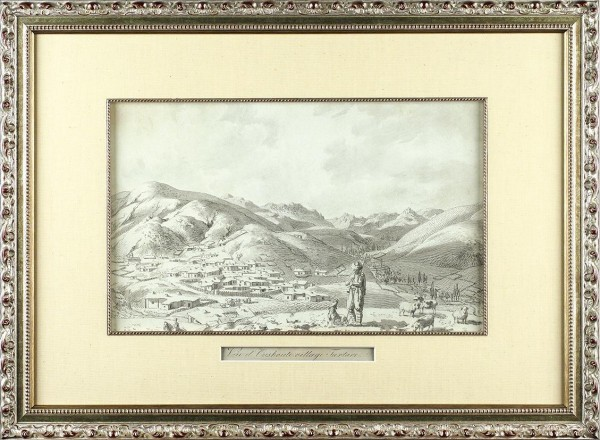 Корнеев Емельян Михайлович (1780-1839) «Вид татарской деревни Ускут». 1804. Бумага, графитный карандаш, тушь, перо, 28,6 х 40,4 см.