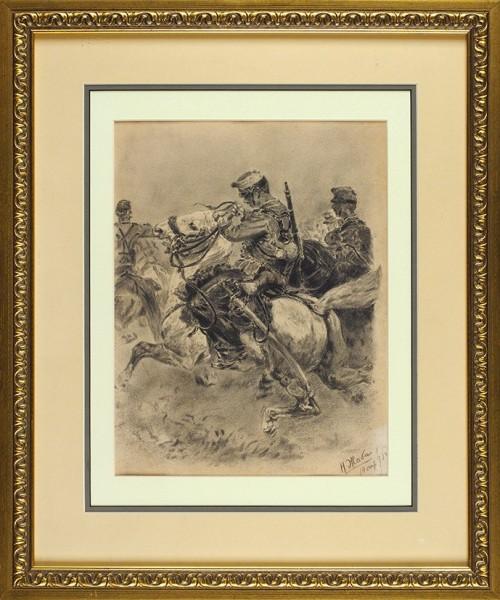 Жаба Нина Константиновна (1875—1942) «Кавалеристы». 1893. Бумага, уголь, 29,7 х 23 см.