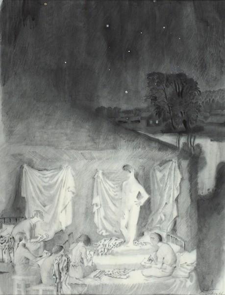 Гольц Ника Георгиевна (1925–2012) «На этюдах». 1946. Бумага, гризайль, 57,6 х 41,6 см.