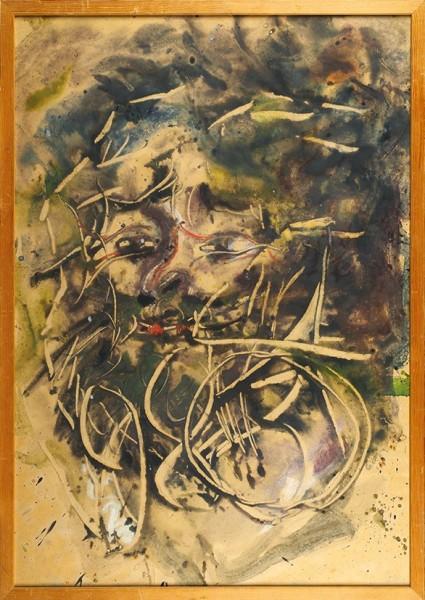 Зверев Анатолий Тимофеевич (1931 — 1986) «Автопортрет». 1980. Бумага, акварель, белила, процарапывание, 72,5 х 60 см.