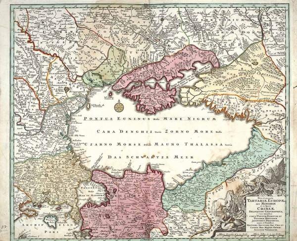 Карта Крыма, Черного и Азовского морей (Новая и точная карта Татарии Европейской или Малой, в частности очертания Крыма относительно Черного моря и болотного Азовского моря) / картограф Георг Маттеус Зойтер. Аугсбург, 1730.
