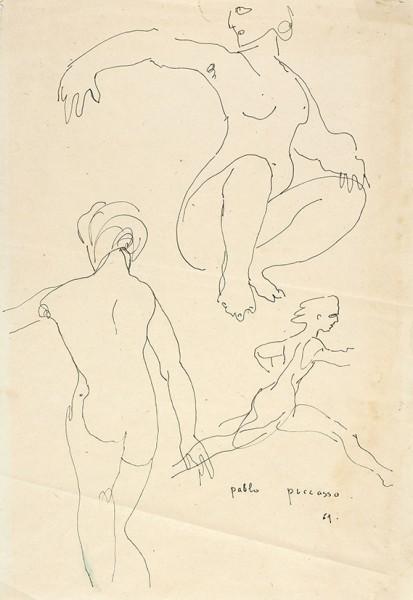 Пабло Пикассо. Оригинальный рисунок трех женских фигур. [1961].